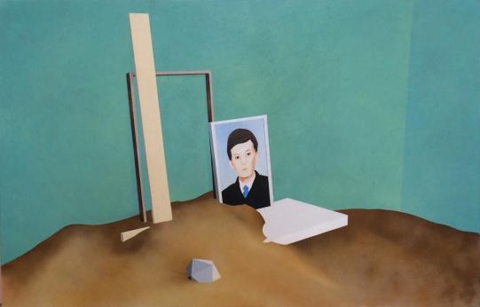 Sépànd Danesh, Le Sablier, 100x155cm, huile, acrylique et spray sur toile, 2014. © Maurine Tric