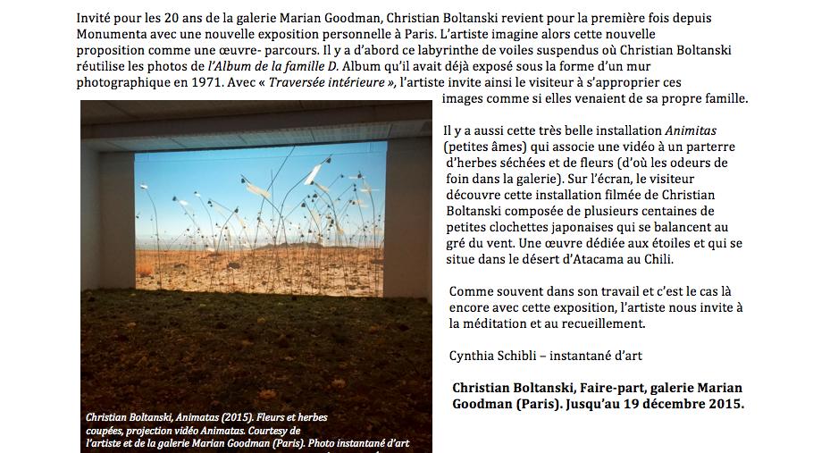 Boltanski, faire-part (c) instantané d'art